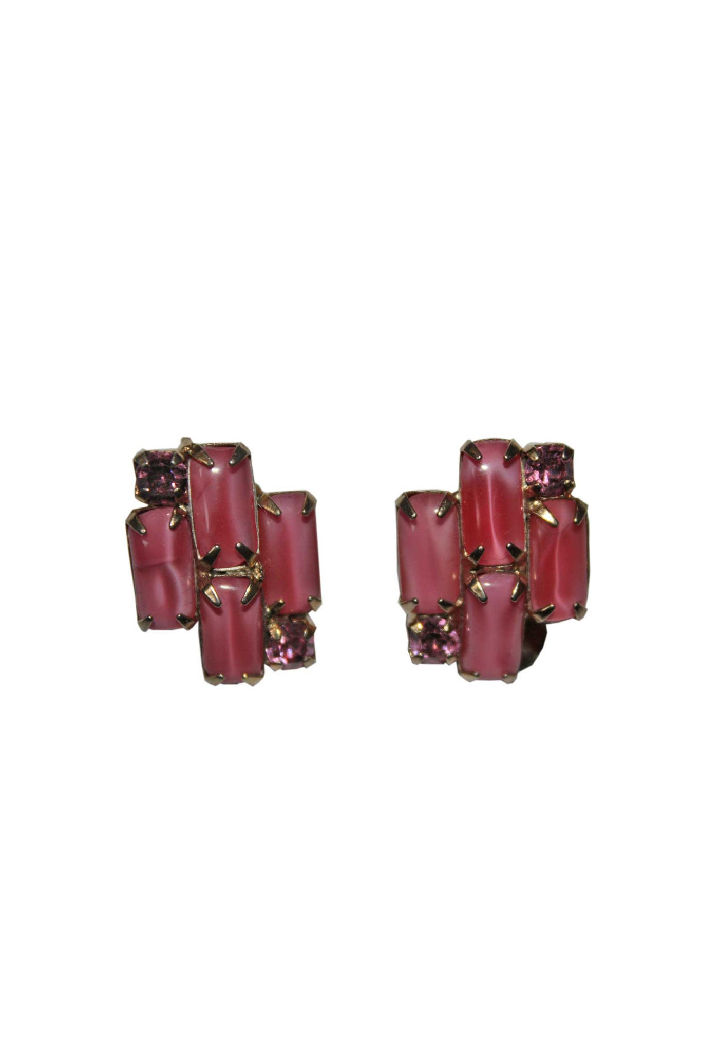 Clip on pink vintage earrings - SoLovesVintage