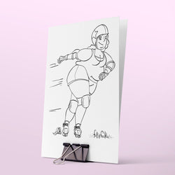 Colouring page - Roller derby girl