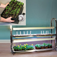 2 Tier Grow Light/Plant Stand Heat Mat Kit (4 Trays)