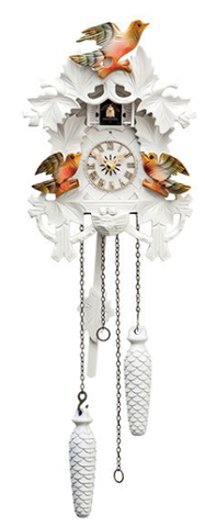 Engstler White Cuckoo Clock Painted Birds  17-10WQM