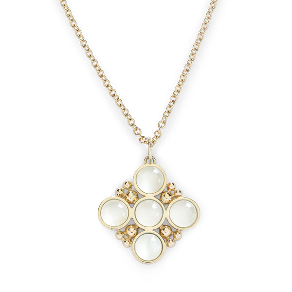 BUBBLES CLASSIC CHAIN NECKLACE with MOONSTONE - 18K YELLOW GOLD
