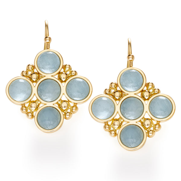 BUBBLES EARRINGS with AQUAMARINE - 18K YELLOW GOLD