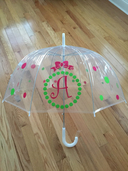 Monogrammed umbrella, adult & child size, personalized Umbrella, great gift Monogram Umbrella, clear dome