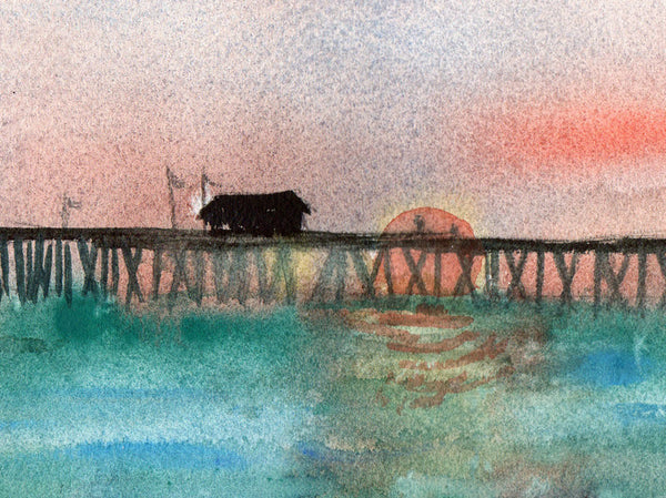 Sunset on the Dock, Original Watercolor Art