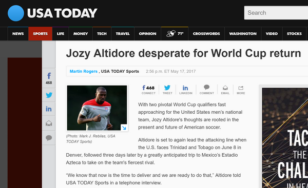 USA Today on Jozy Altidore and Footy Market!