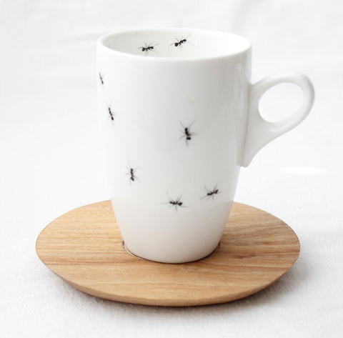 White ant coffee mug with wooden Saucer