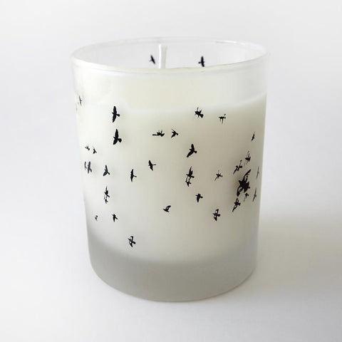Vanilla soy candle in a bird print frosted glass