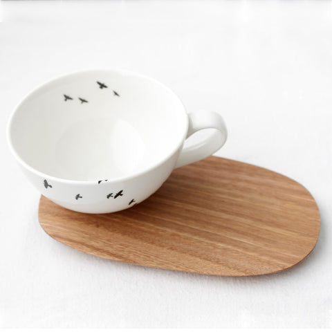 White cuppuccino cup with bird print & wooden Saucer