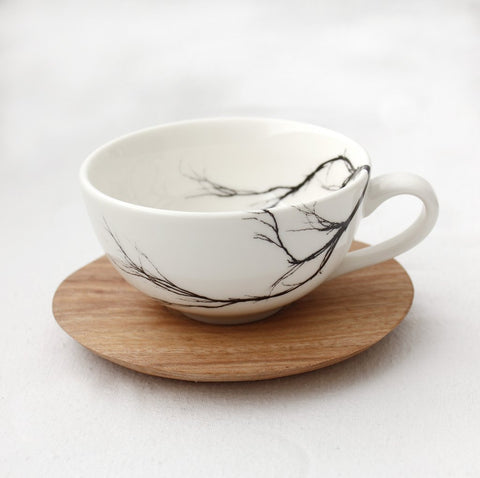 White espresso Cup with branch print & wooden Saucer