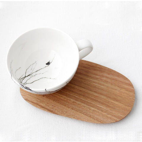 White tea Cup with branch print and wooden Saucer