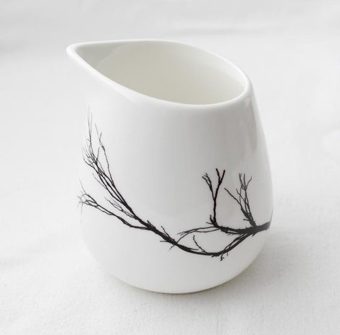 White milk jug with branch print