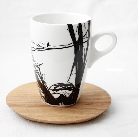 White coffee mug with branch print & wooden Saucer