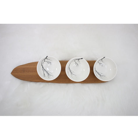 Three white branch snack bowls with wooden tray
