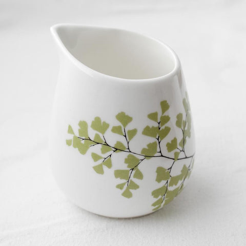White milk jug with fern print