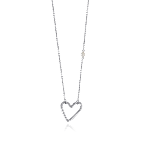 Heart Silver Pearl Necklace