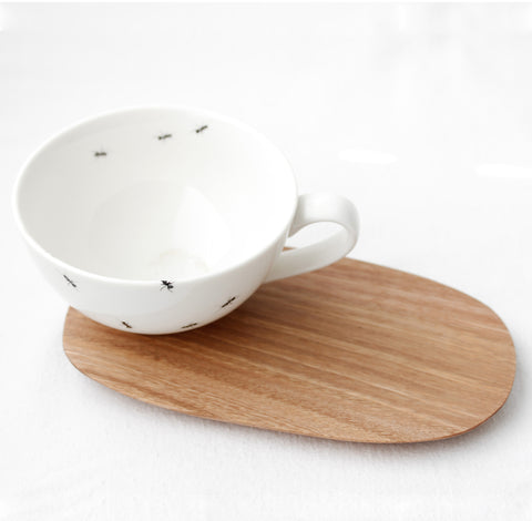 White ant tea Cup with wooden Saucer
