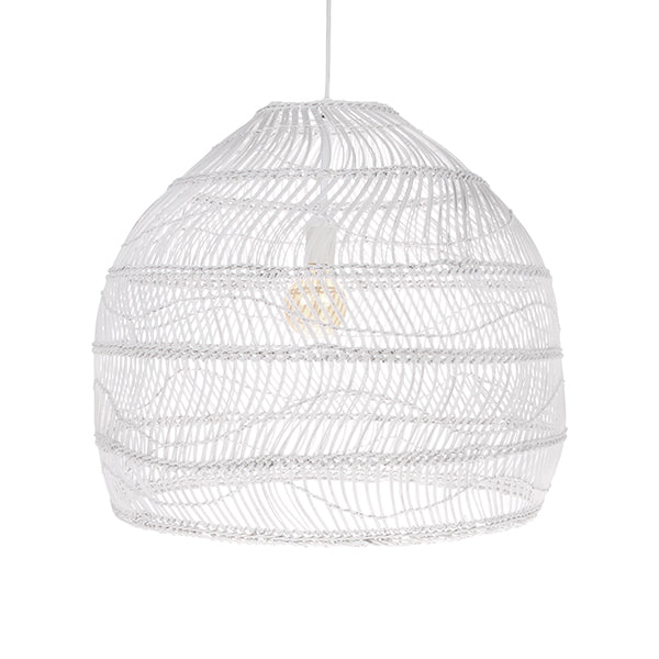 HK Living | White Wicker Hanging Ball Lamp Medium | House of Orange Melbourne