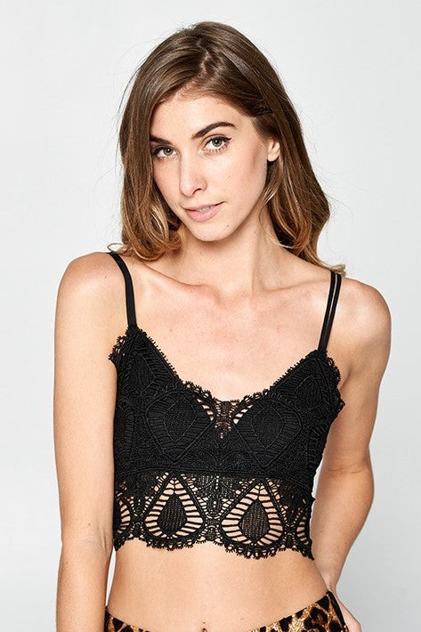 Crochet Bralette - Black - Sweetly Striped