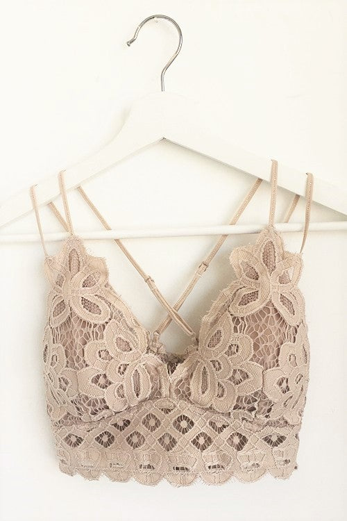 Double Strap Lace Bralette - Champagne - Sweetly Striped