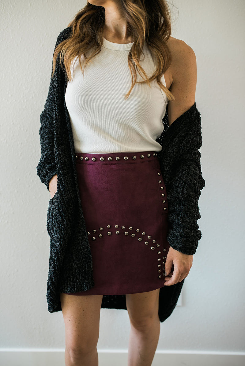 Suede Studded Skirt - Sweetly Striped