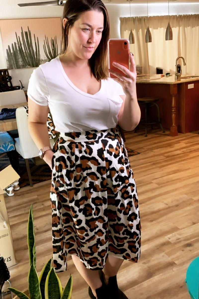 Leopard For Days Midi Skirt - Sweetly Striped