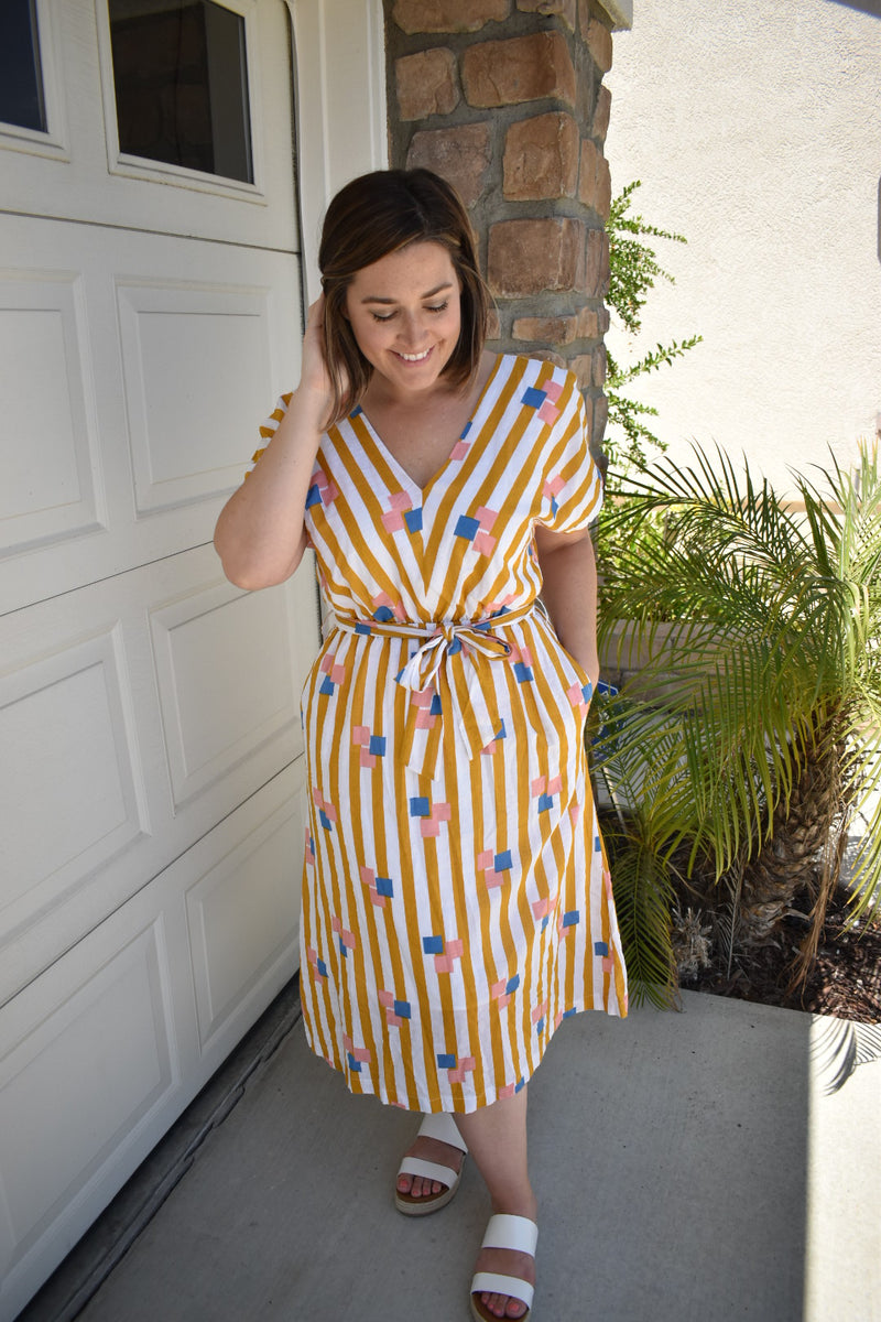 Modern Belted Midi Summer Dress - Sweetly Striped