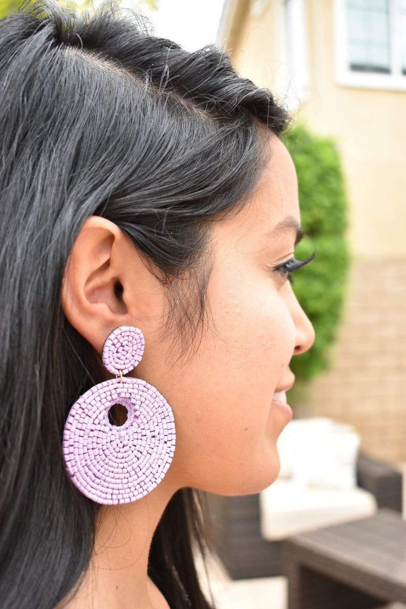 Round Beaded Earrings - Lavender