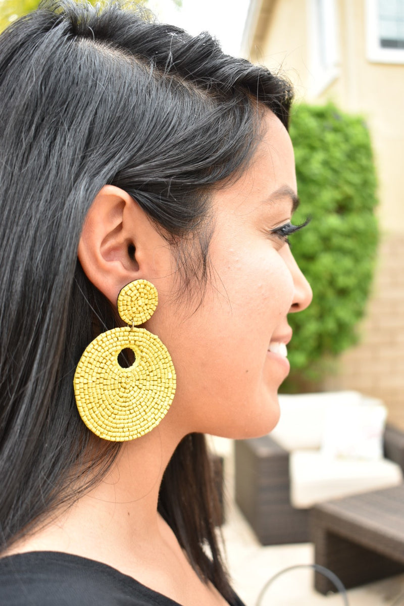 Round Beaded Earrings - Mustard