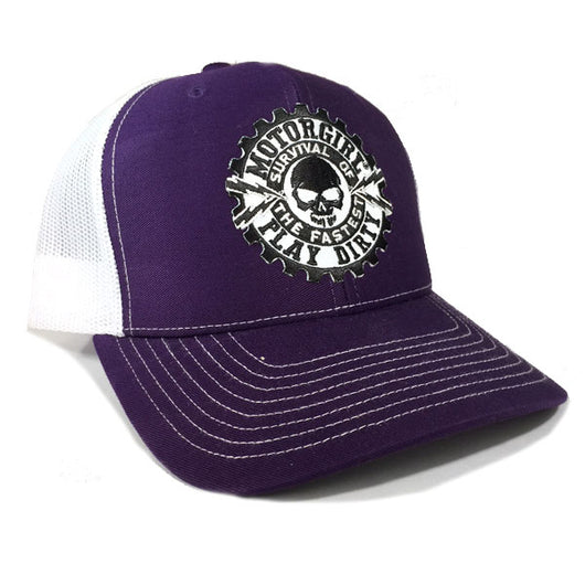 PLAY DIRTY - SNAP BACK CURVED BILL TRUCKER HAT - WHITE  / PURPLE - MOTORGIRL - MotorCult