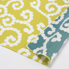 50 mina perhonen Cotton Gauze Reversible | Karakusa Yellow/Smoky Blue