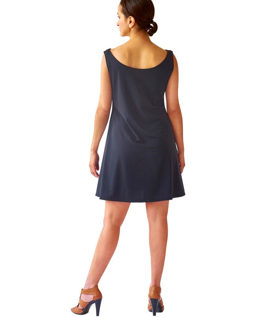 Sleeveless Swing Dress in Washable Stretch Suede - SteelCore