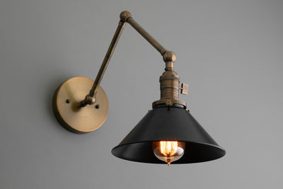 Black Shade Light - Adjustable Sconce - Drafting Light - Wall Sconce Light - Bathroom Lighting - Industrial Light - Sconce - Lighting