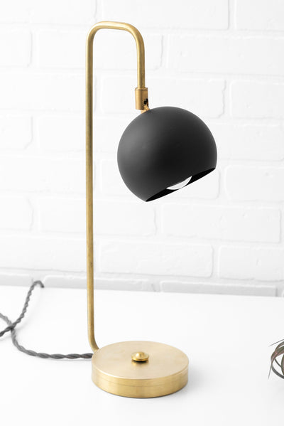 Modern Desk Lamp - Dome Lamp - Touch Lamp - Mid Century Lighting - Brass Desk Lamp - Table Lamp - Brass Desk Lamp - Black Shade