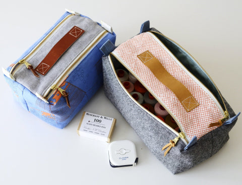 Double Zip Box Pouch by Aneela Hoey - Project Kit (Haberdashery and Pattern Only) - Small Pouch