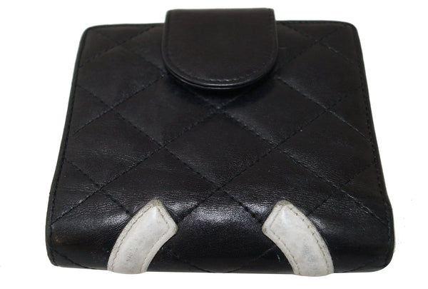 CHANEL Black Quilted Ligne Cambon Bifold Compact Wallet