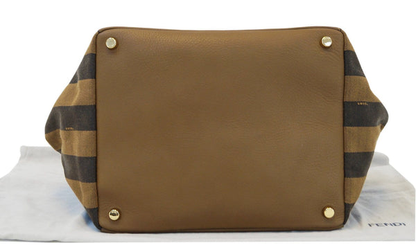 Fendi Pecan Canvas Leather - Fendi Shoulder Bag - bottom view