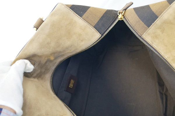 Fendi Pecan Canvas Leather - Fendi Shoulder Bag - inside look