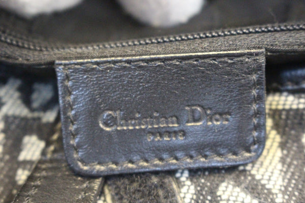 CHRISTIAN DIOR Denim Logo Double Saddle Bag with Pouch