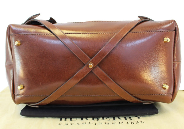 BURBERRY Marta Check Canvas handbags brown leather