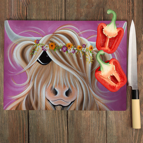 Jennifer Hogwood, The McMoos, Beatrice - Glass Chopping Board