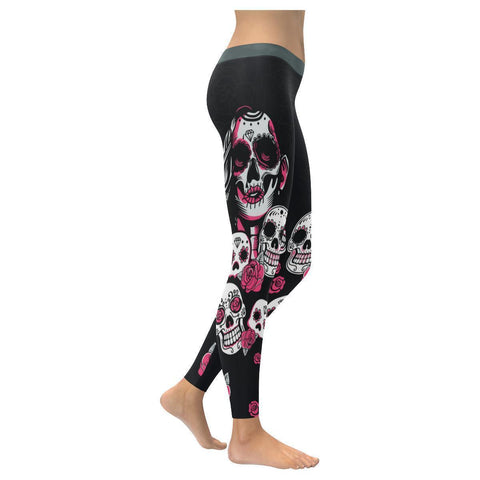Female Sugar Skull & Pink Roses Soft UPF40+ Non See Through Womens Leggings-NeatFind.net