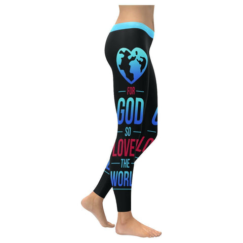 For God So Loved The World Soft Breathable Christian UPF40+ Women Leggings-NeatFind.net