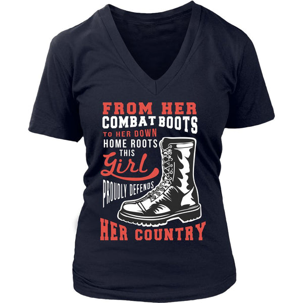From Her Combat Boots To Her Down Home Roots This Girl Proudly Defends Her Country Patriotic USA Military Women V-Neck T-Shirt For Women-NeatFind.net