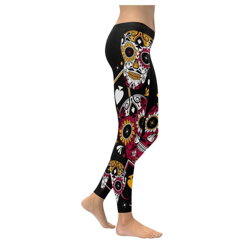 Imaginative Stylish Hallucinatory Sugar Skull Stacks Soft UPF40 Womens Leggings-NeatFind.net