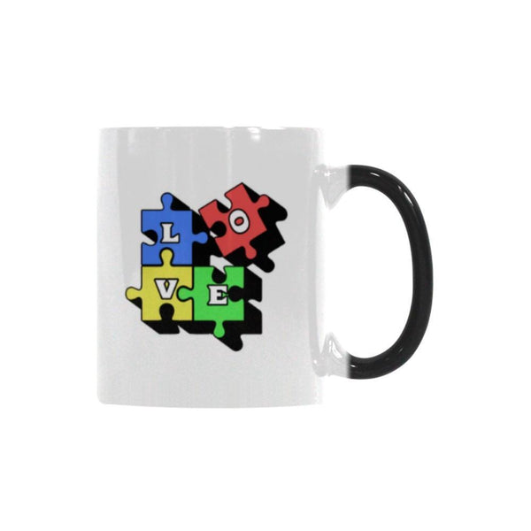 Love & Autism Square Puzzle Autism Awareness V2 Color Changing/Morphing 11oz Coffee Mug-NeatFind.net