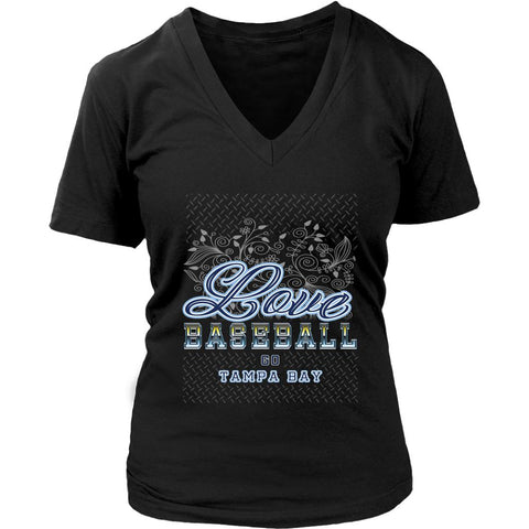 Love Baseball Go Tampa Bay Fan Gifts Diamond Plate Cool V-Neck T-Shirts-NeatFind.net