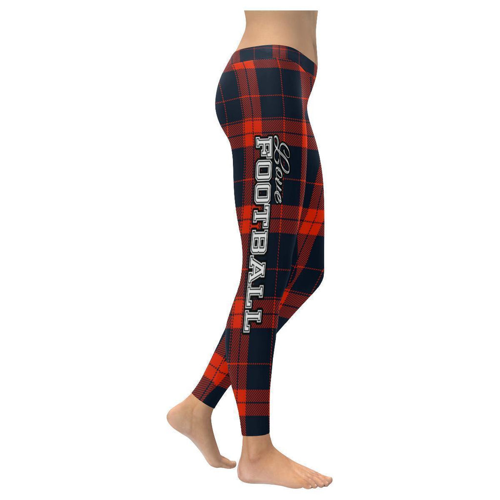Love Football Go Chicago Fan Plaid Checkered Soft UPF40+ Womens Leggings-NeatFind.net