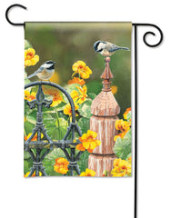 Chickadee Fence Post Garden Flag