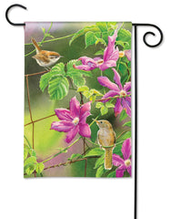 Wren with Purple Clematis Garden Flag