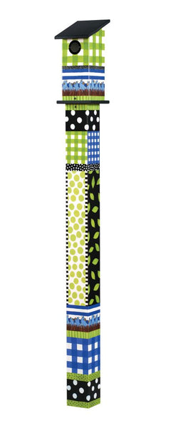 Gingham Birdies 5' Bluebird House Art Pole